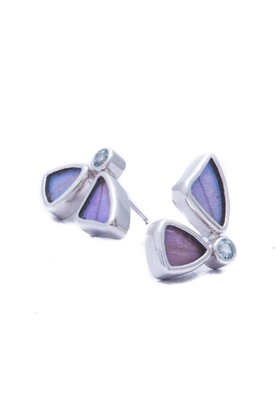 1-Real Butterfly Wings-A-2D-2F-Silver-butterfly-earrings-with-blue-topaz-birthstone-Iridescent-Blue-half-Morpho-Didius