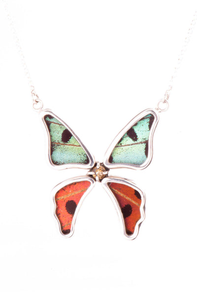 1-Real Butterfly Wings-A-4B-3F-Silver-butterfly-necklace-with-citrine-birthstone-Shimmering-Rainbow-Green-Chrysiridia-Madagas