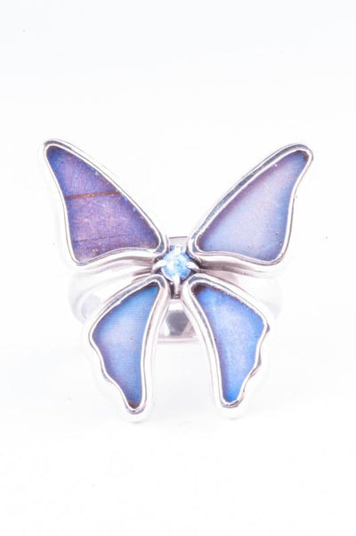 1-Real Butterfly Wings-A-4D-3F-Silver-butterfly-ring-with-blue-topaz-birthstone-Iridescent-Blue-Morpho-Didius