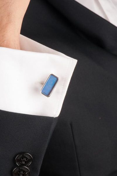 1-Real Butterfly Wings-A-SA-R1-Silver-butterfly-cufflinks-Iridescent-Blue-Rectangle-Morpho-Didius