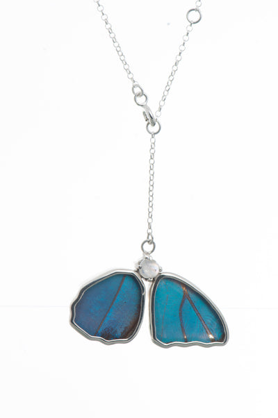 1-Real Butterfly Wings-A-2B-4F-Silver-butterfly-necklace-with-blue-topaz-birthstone-Iridescent-Blue-half-Morpho-Didius