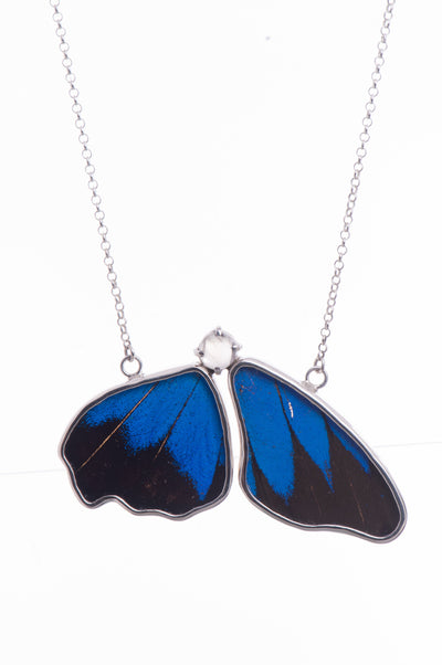 1-Real Butterfly Wings-A-2B-5F-Silver-butterfly-necklace-with-blue-topaz-birthstone-Royal-Blue-half-Papilio-Ulysses