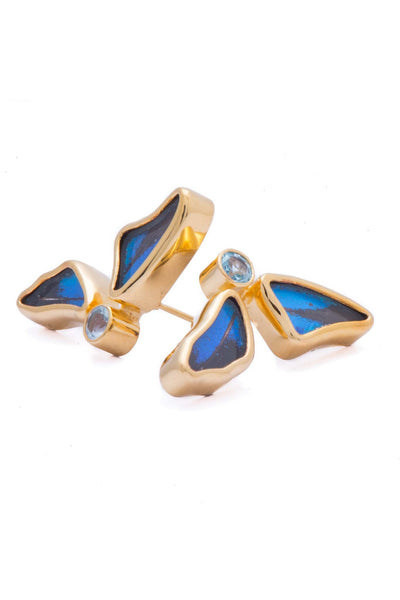 1-Real Butterfly Wings-A-2D-3F-Gold-butterfly-earrings-with-blue-topaz-birthstone-Royal-Blue-half-Papilio-Ulysses
