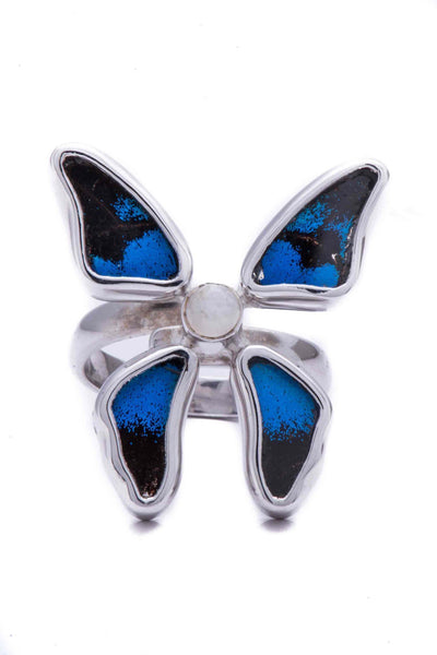 1-Real Butterfly Wings-A-4D-3F-Silver-butterfly-ring-with-blue-topaz-birthstone-Royal-Blue-Papilio-Ulysses