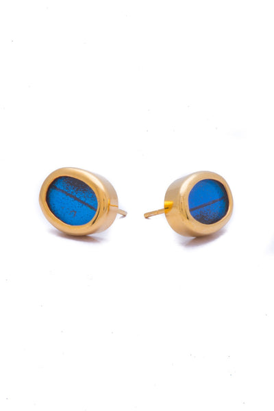 1-Real Butterfly Wings-A-SA-O1-Gold-butterfly-earrings-Royal-Blue-Oval-Papilio-Ulysses