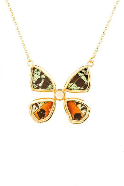 1-Real Butterfly Wings-A-4B-4F-Gold-butterfly-necklace-with-citrine-birthstone-Shimmering-Rainbow-Green-Chrysiridia-Madagasca