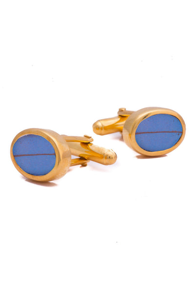 1-Real Butterfly Wings-A-SA-O1-Gold-butterfly-cufflinks-Iridescent-Blue-Oval-Morpho-Didius