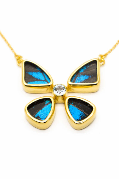 1-Real Butterfly Wings-A-4B-2F-Gold-butterfly-necklace-with-blue-topaz-birthstone-Royal-Blue-Papilio-Ulysses