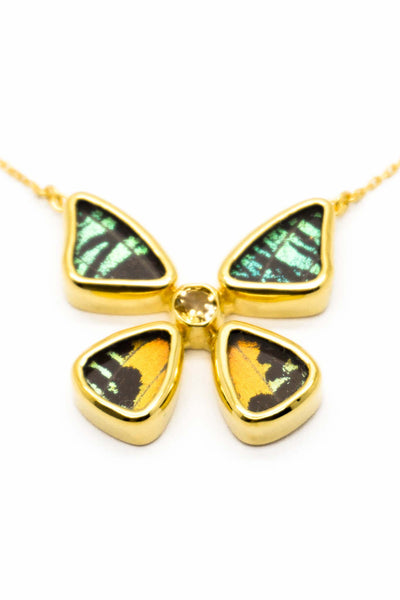 1-Real Butterfly Wings-A-4B-2F-Gold-butterfly-necklace-with-citrine-birthstone-Shimmering-Rainbow-Green-Chrysiridia-Madagasca