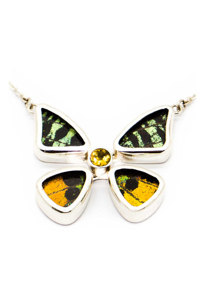 1-Real Butterfly Wings-A-4B-2F-Silver-butterfly-necklace-with-citrine-birthstone-Shimmering-Rainbow-Green-Chrysiridia-Madagas