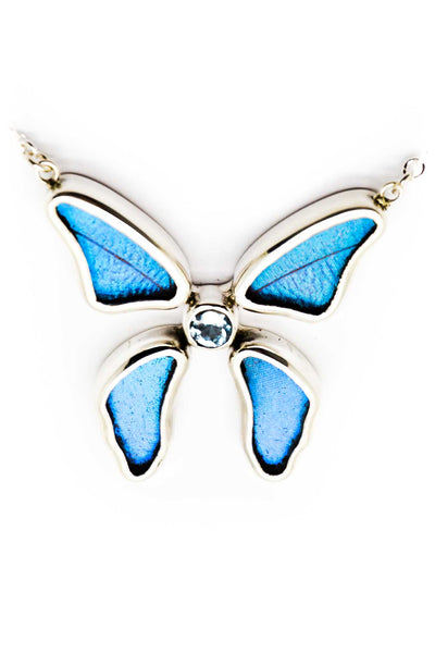 1-Real Butterfly Wings-A-4B-3F-Silver-butterfly-necklace-with-blue-topaz-birthstone-Iridescent-Blue-Morpho-Didius