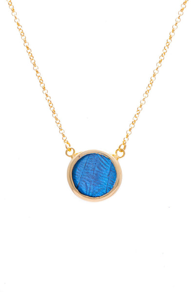 1-Real Butterfly Wings-A-SC-C1-Gold-butterfly-necklace-Iridescent-Blue-Circle-Morpho-Didius