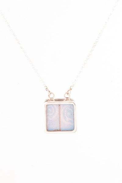 1-Real Butterfly Wings-A-SC-S1-Silver-butterfly-necklace-Iridescent-Blue-Square-Morpho-Didius