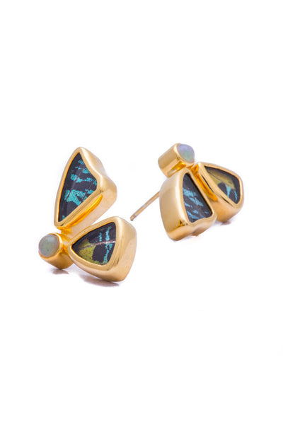 3--A-2D-2F-Gold-butterfly-earrings-with-citrine-birthstone-Shimmering-Rainbow-Green-half-Chrysiridia-Madagascariensis