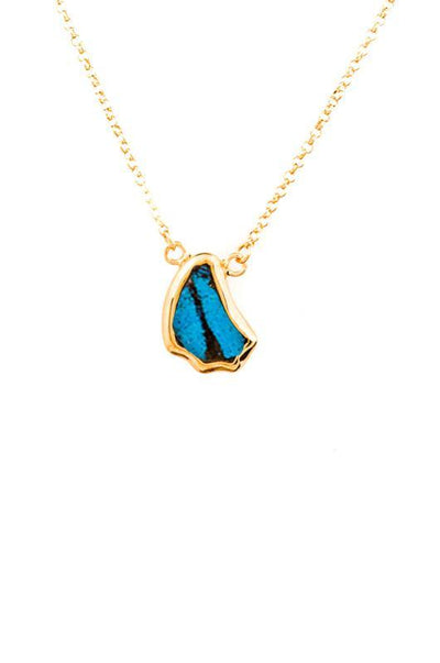 1-Real Butterfly Wings-A-SC-1B-Gold-butterfly-necklace-Royal-Blue-Wing-Shaped-Papilio-Ulysses