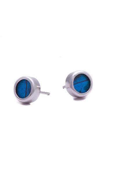 1-Real Butterfly Wings-A-SA-C1-Silver-butterfly-earrings-Royal-Blue-Circle-Papilio-Ulysses