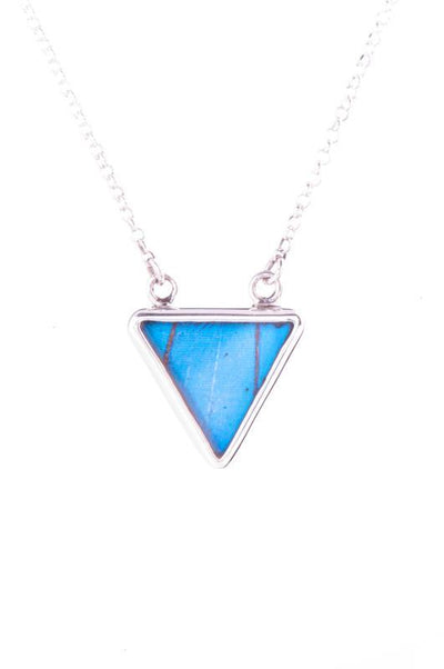 1-Real Butterfly Wings-A-SC-T1-Silver-butterfly-necklace-Iridescent-Blue-Triangle-Morpho-Didius