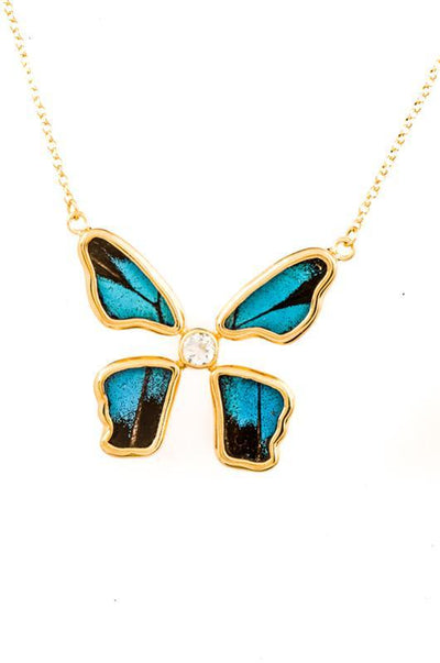 1-Real Butterfly Wings-A-4B-5F-Gold-butterfly-necklace-with-blue-topaz-birthstone-Royal-Blue-Papilio-Ulysses