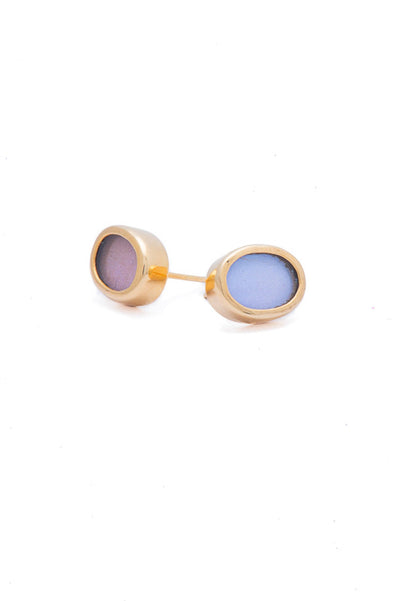 1-Real Butterfly Wings-A-SA-O1-Gold-butterfly-earrings-Iridescent-Blue-Oval-Morpho-Didius