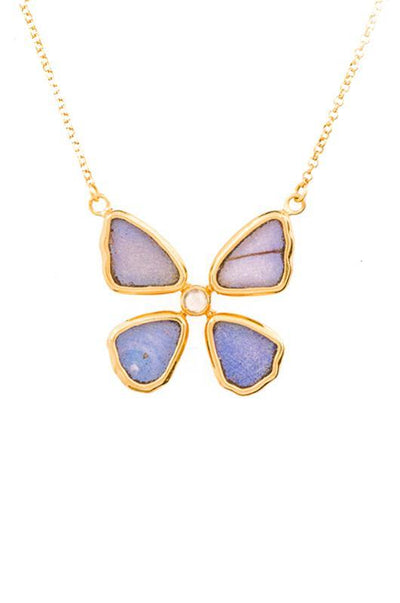 1-Real Butterfly Wings-A-4B-4F-Gold-butterfly-necklace-with-blue-topaz-birthstone-Iridescent-Blue-Morpho-Didius