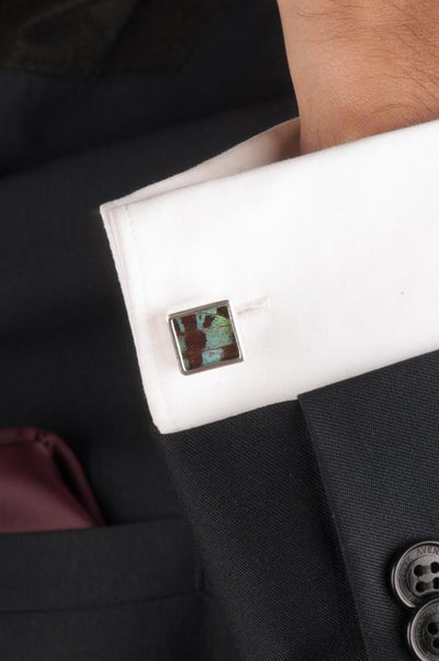 1-Real Butterfly Wings-A-SA-S1-Silver-butterfly-cufflinks-Shimmering-Green-Square-Chrysiridia-Madagascariensis-Top-wing