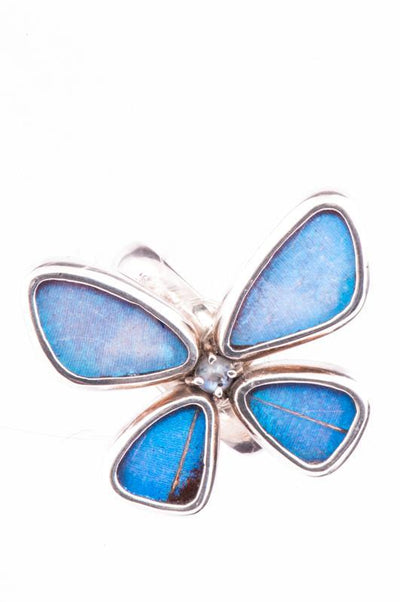 1-Real Butterfly Wings-A-4D-6F-Silver-butterfly-ring-with-blue-topaz-birthstone-Iridescent-Blue-Morpho-Didius