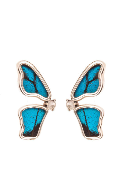 1-Real Butterfly Wings-A-2D-5F-Silver-butterfly-earrings-with-blue-topaz-birthstone-Royal-Blue-half-Papilio-Ulysses