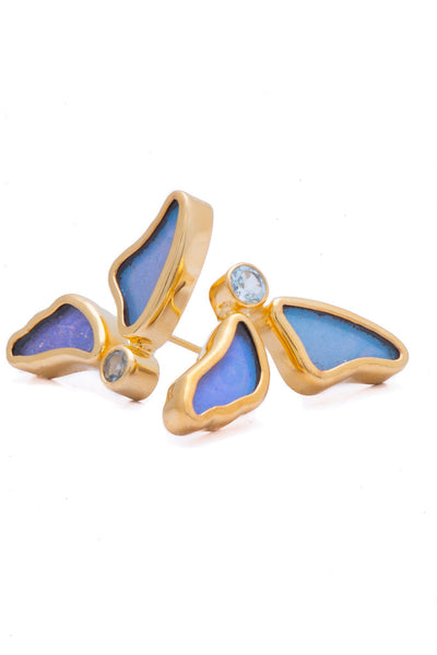 1-Real Butterfly Wings-A-2D-3F-Gold-butterfly-earrings-with-blue-topaz-birthstone-Iridescent-Blue-half-Morpho-Didius