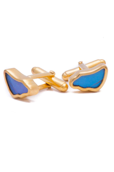 1-Real Butterfly Wings-A-SA-3B-Gold-butterfly-cufflinks-Iridescent-Blue-Wing-Shaped-Morpho-Didius
