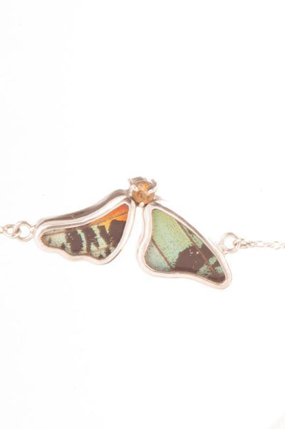 1-Real Butterfly Wings-A-2F-3F-Silver-butterfly-bracelet-with-citrine-birthstone-Shimmering-Rainbow-Green-half-Chrysiridia-Ma