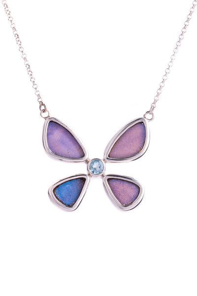 1-Real Butterfly Wings-A-4B-6F-Silver-butterfly-necklace-with-blue-topaz-birthstone-Iridescent-Blue-Morpho-Didius