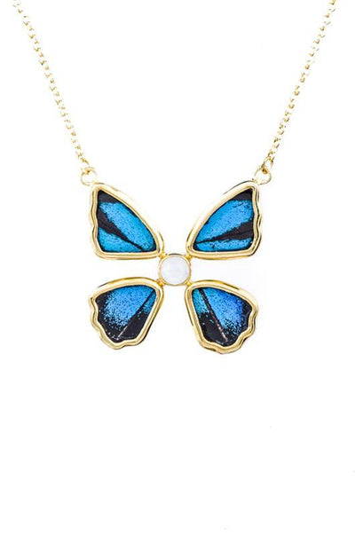 1-Real Butterfly Wings-A-4B-4F-Gold-butterfly-necklace-with-blue-topaz-birthstone-Royal-Blue-Papilio-Ulysses