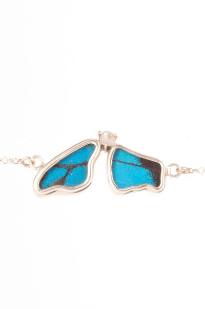 1-Real Butterfly Wings-A-2F-5F-Silver-butterfly-bracelet-with-blue-topaz-birthstone-Royal-Blue-half-Papilio-Ulysses