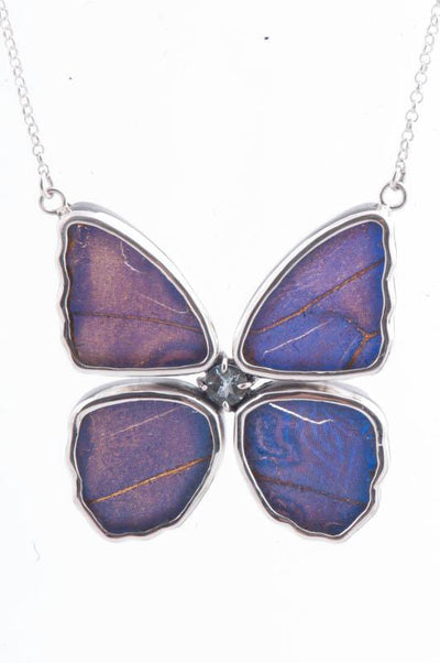 1-Real Butterfly Wings-A-4B-4F-Silver-butterfly-necklace-with-blue-topaz-birthstone-Iridescent-Blue-Morpho-Didius