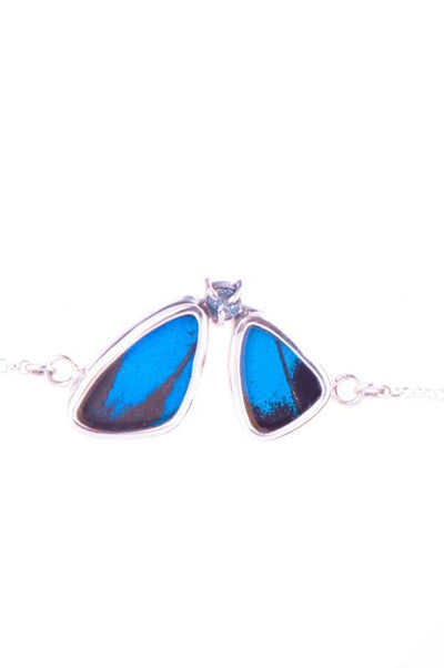 1-Real Butterfly Wings-A-2F-6F-Silver-butterfly-bracelet-with-blue-topaz-birthstone-Royal-Blue-half-Papilio-Ulysses