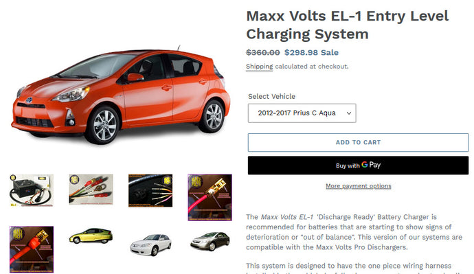 Maxx Volts adds 2012-2017 Prius C Aqua to its lineup of Grid Charger Hybrid Battery Balancer Systems!
