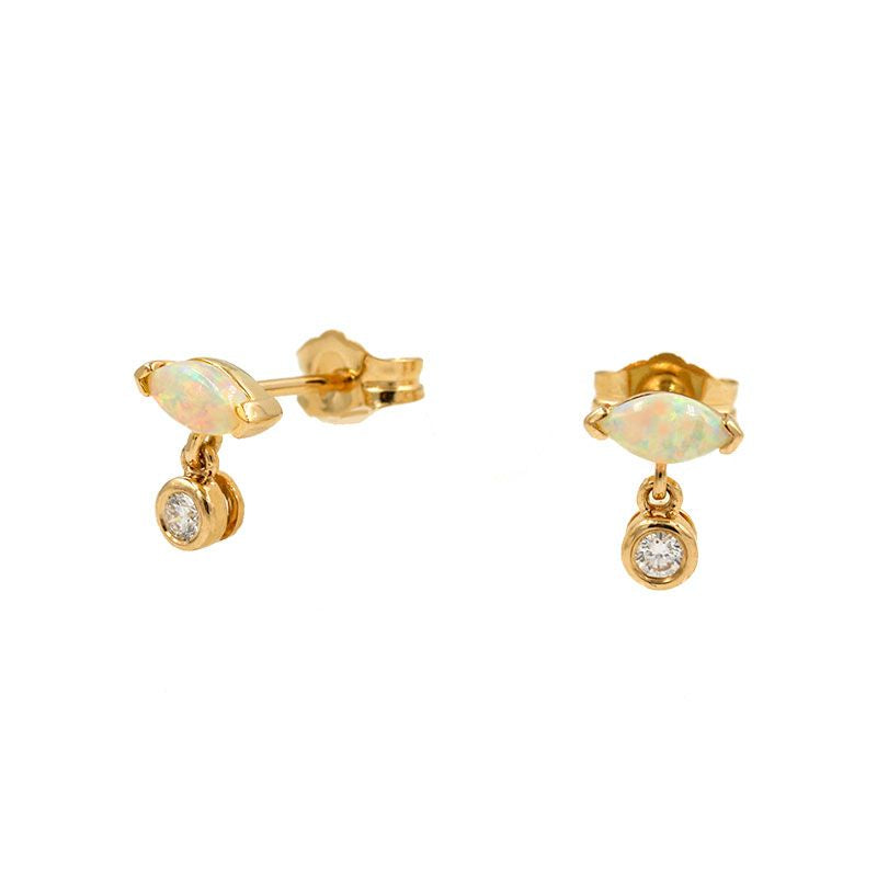 18K Sensational Opal Diamond Studs