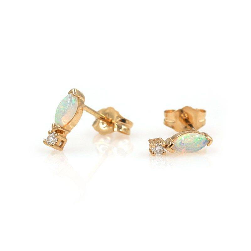 18K Glorious Opal Diamond Studs