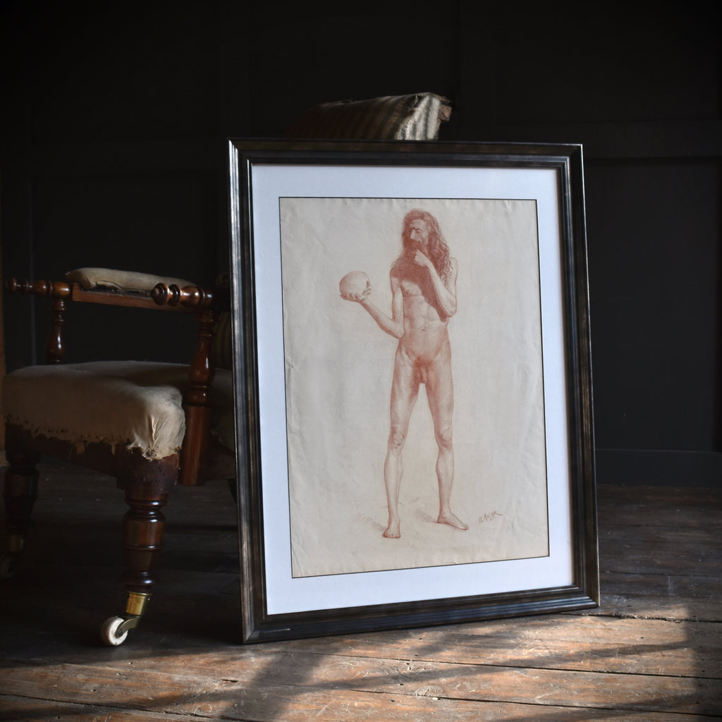 A Fine 19th Century Red Chalk Drawing of a Symbolic Nude Study.