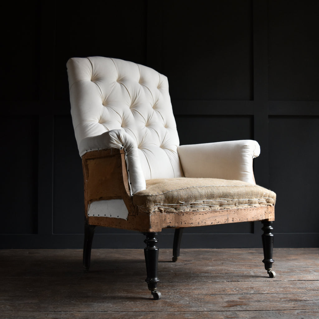 Elegant 19th Century Napoleon III Buttoned High Back Armchair. Upholstery Inclusive. RESERVED