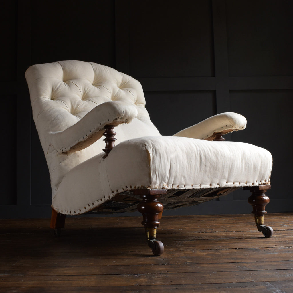 A Good 19th Century English Library Armchair. Upholstery inclusive.
