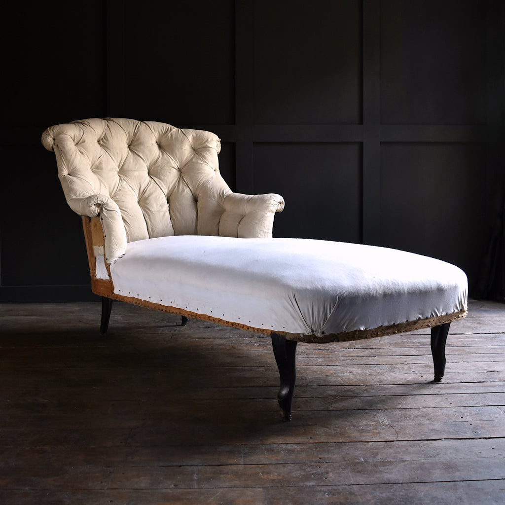 French Napoleon III Button back Chaise Longue, Upholstery Inclusive.
