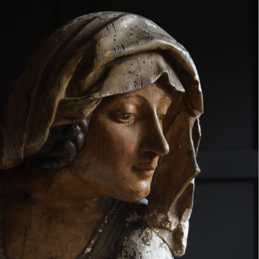 Intriguing 19th Century Plaster Bust of a Medieval Woman.