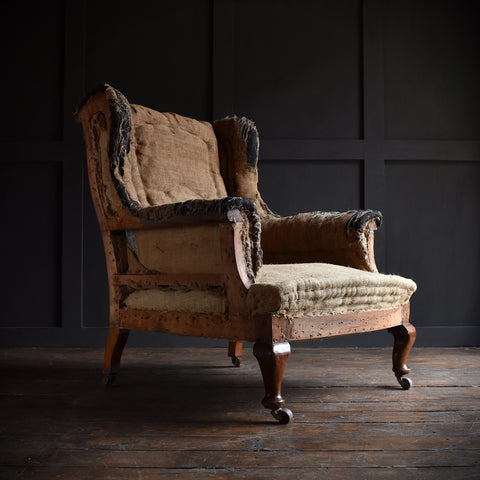 late 19th century english wingback armchair upholstery inclusive