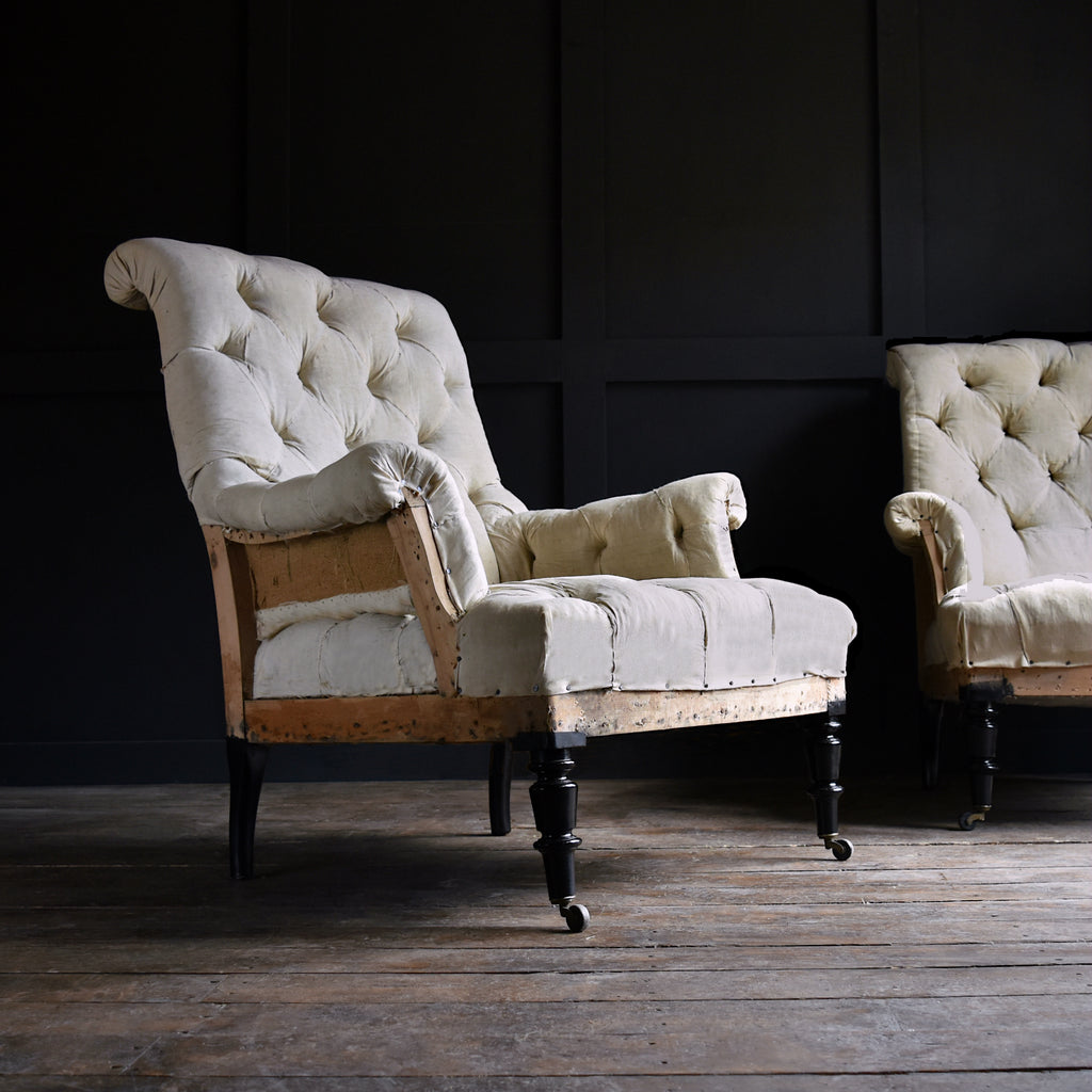 Excellent Pair of Napoleon III Fully buttoned Scrolled Back Armchairs. Upholstery Inclusive.