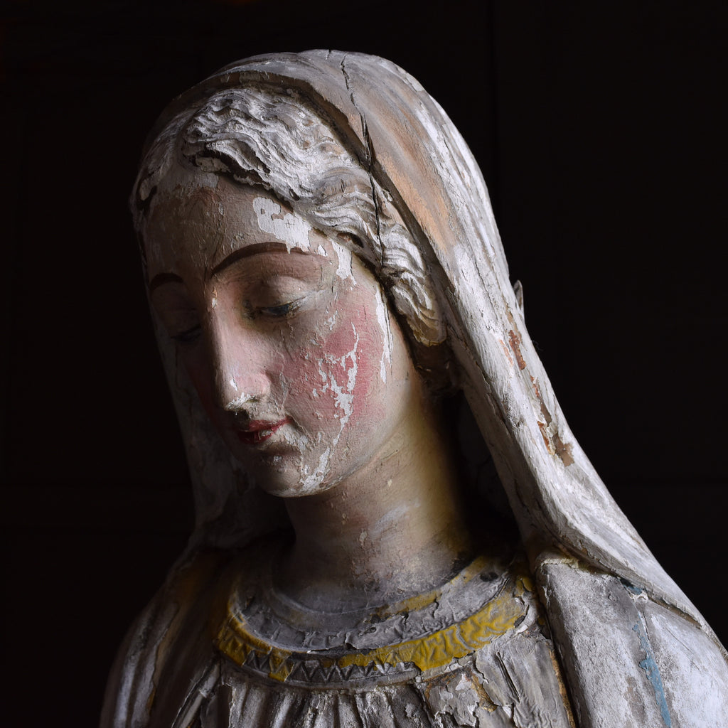 Exceptionally beautiful Early 19th Century Carved Alter Figure of Madonna.