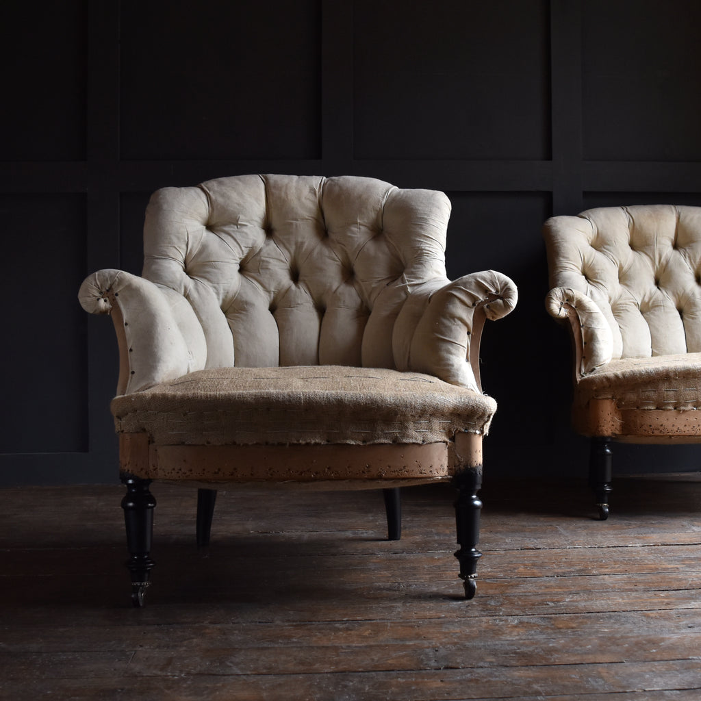 Pair of French 19th Century Ebonised Armchairs. Upholstery Inclusive.
