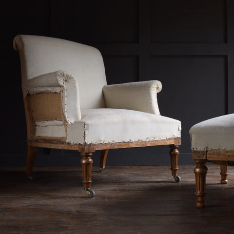 Napoleon III French Scroll Back Armchair with Matching Footstool. Upholstery Inclusive.