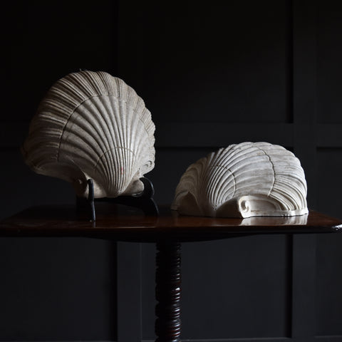 Wonderful Pair of Mid-Century Plaster Clam Shell Wall Sconces. Attr. to Serge Roche
