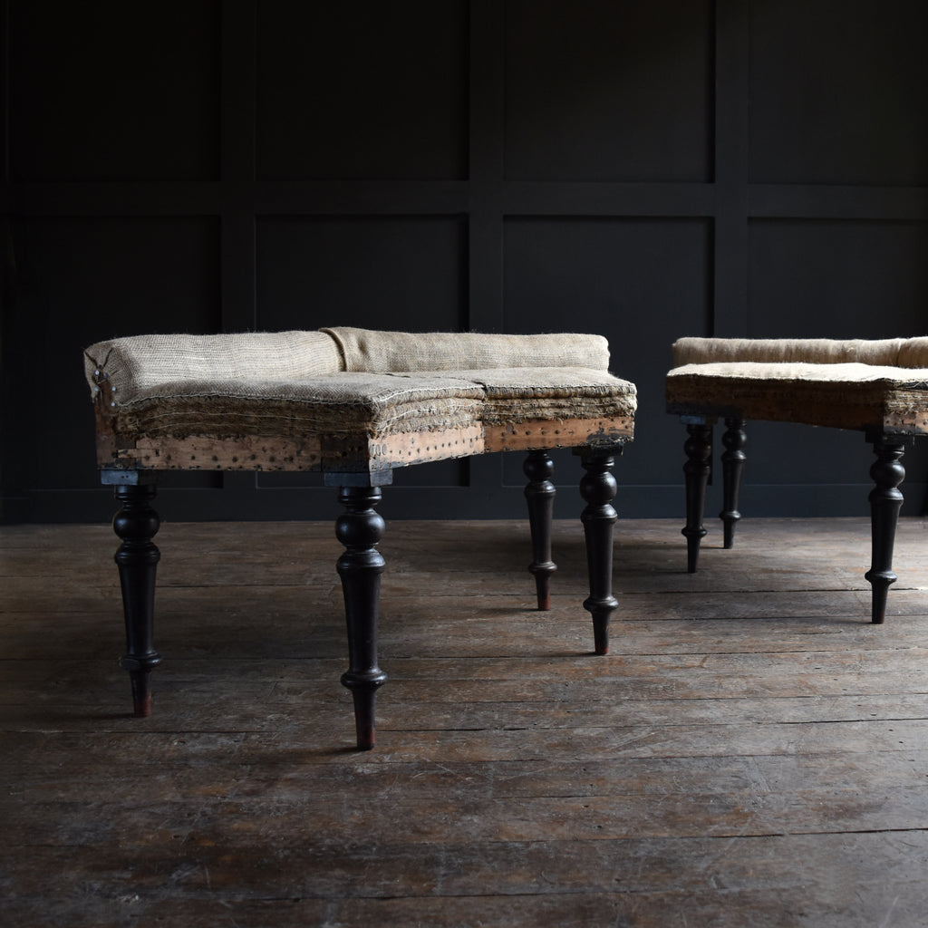 19th Century English Ebonised Bay Window Seats/Stools.